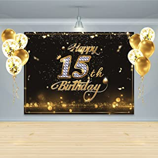 Gatherfun Birthday Party Supplies Happy 15th Birthday Banner Backdrop with 10 Pcs balloons Black Gold Birthday Party Large Background Photo Props for Boys and Girls 15 Birthday Decorations