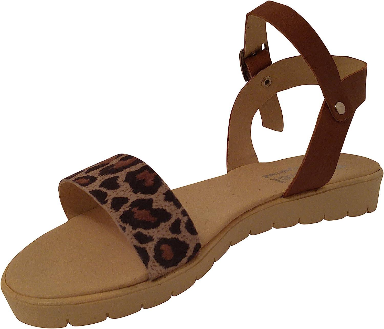 Mopiel 100% Genuine Leather Women Flat Casual Sandals Brown