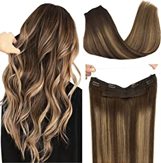 DOORES Halo Hair Extensions Human Hair Balayage Chocolate Brown to Caramel Blonde 20 Inch 100g Flip in Hidden Crown Wire H...