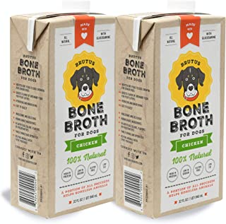 Brutus Dog Bone Broth for All Breeds | Healthy Hydrating Chicken Topper American Made | Glucosamine & Chondroitin | Human Grade Gluten-Free Wet Ingredients | Healthier Joints for Puppies Senior Dogs