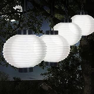 Pure Garden 50-19-W Outdoor Solar Chinese LED Lanterns, White