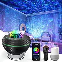 LED-sterrenprojector, nachtlampje, Tasmor Smart WiFi Ocean Wave lichtprojector, met standaard, muziek Bluetooth-luidspreke...