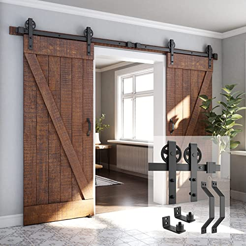 """high quality 10ft outlet sale Heavy Duty Double Gate Sliding Barn high quality Door Hardware Kit, 10ft Double Rail, Black, (Whole Set Includes 2X Pull Handle Set & 2X Floor Guide) Fit 30"""" Wide DoorPanel (Bigwheel Hanger) online sale"""