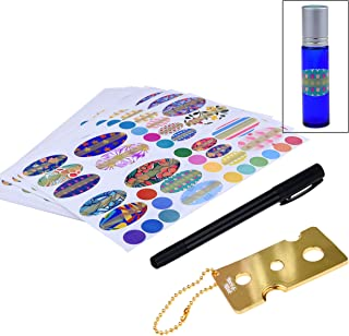 Kare & Kind Essential Oil Bottle Sticker Kit with Bottle tool with chain and Pen for label writing