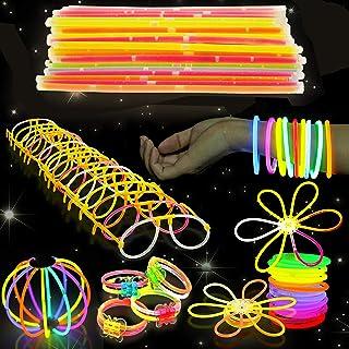 543 Pack - 250 Knicklichter Leuchtstäbe, 293 Verbinder - Armbänder, Halsketten, Leuchtbrillen, Glühbälle, Blumen - Sicher & Nicht-Toxisch| Kinder Neon Partys Dekoration Piñata Weihnachten Neujahr.