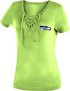 New Era Seattle Seahawks Women's Logo Lace Up V-Neck T-Shirt