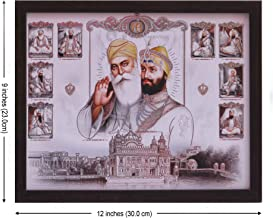 HandicraftStore Gurunank dev ji Giving Blessings and Guru gobind Singh ji with Eight Other guru's, A Painting Poster with Frame, Must for Sikh Family Home/Office