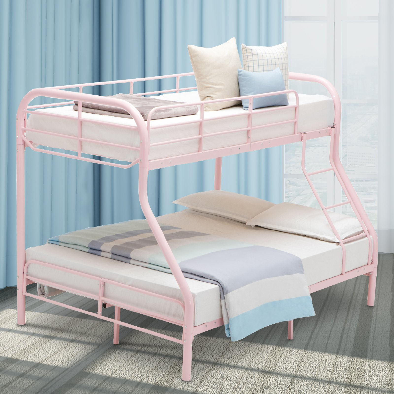 Lagrima Twin Over Full Metal Sturdy Bunk Bed Frame With Inclined Ladder Safety Rails For Kids Teens Adult Space Saving Design Pink Buy Online In Aruba At Aruba Desertcart Com Productid 99758562
