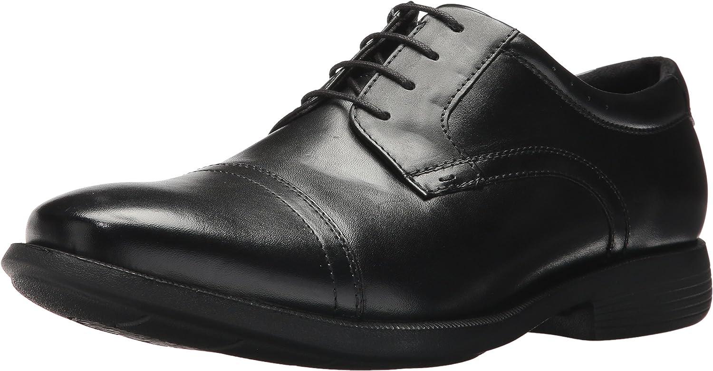 Nunn Bush Men Dixon Cap Toe Lace Up Oxford with KORE Comfort Walking Technology, Black, 10