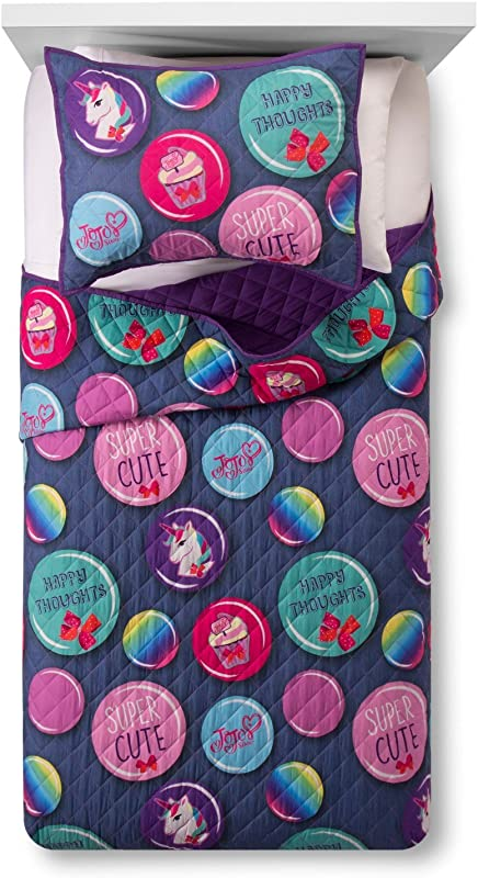 Jay Franco Nickelodeon JoJo Dreams Twin Full Quilt Sham Set Super Soft Kids Bedding Features JoJo Siwa Fade Resistant Polyester Official Nickelodeon Product