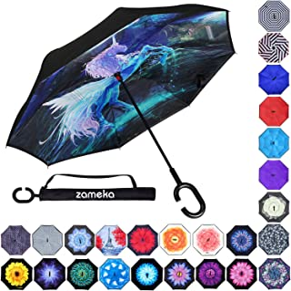 Z ZAMEKA Double Layer Inverted Umbrellas Reverse Folding Umbrella Windproof UV Protection Big Straight Umbrella Inside Out Upside Down for Car Rain Outdoor with C-Shaped Handle, Unicorn 3