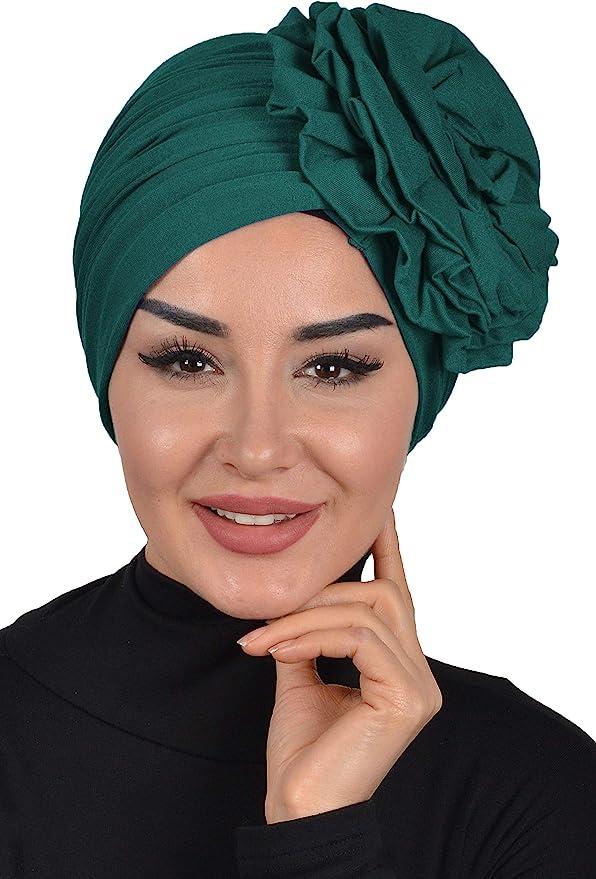 1940s Style Hats   Fascinator, Turban, Fedora Instant Turban Scarf Head Wrap Scarfs For Women Hat Rose Detail  AT vintagedancer.com
