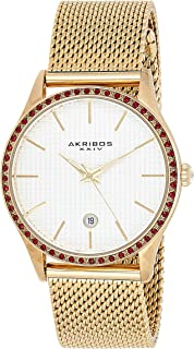 Akribos Xxiv Casual Watch Analog Display For Women Ak967Yg, Stainless Steel Strap