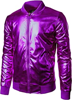 JOGAL Men's Metallic Nightclub Styles Zip Up Baseball Bomber Jacket
