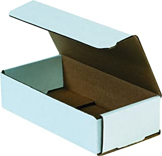Boxes Fast BFM842 Corrugated Cardboard Mailers, 8 x 4 x 2 Inches, Tuck Top One-Piece, Die-Cut Shipping Cartons, Medium White Mailing Boxes (Pack of 50)