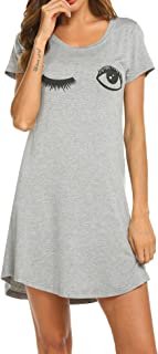 fd24a6a313 HOTOUCH Sleepwear Women s Nightgown Cotton Sleep Shirt Printed Short Sleeve  Scoopneck Sleep Tee Nightshirt ...
