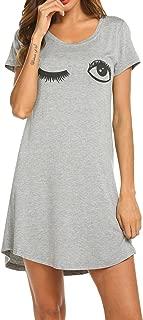 Sleepwear Women's Nightgown Cotton Sleep Shirt Printed Short Sleeve Scoopneck Sleep Tee Nightshirt S-XXL