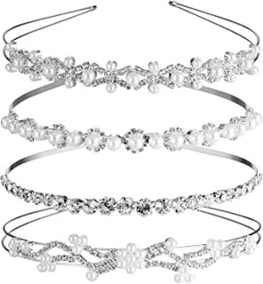 TecUnite 4 Pieces Wedding Party Rhinestone Crystal Headband and Women Faux Pearl Rhinestones Crown Headband for Bride Bridesmaids