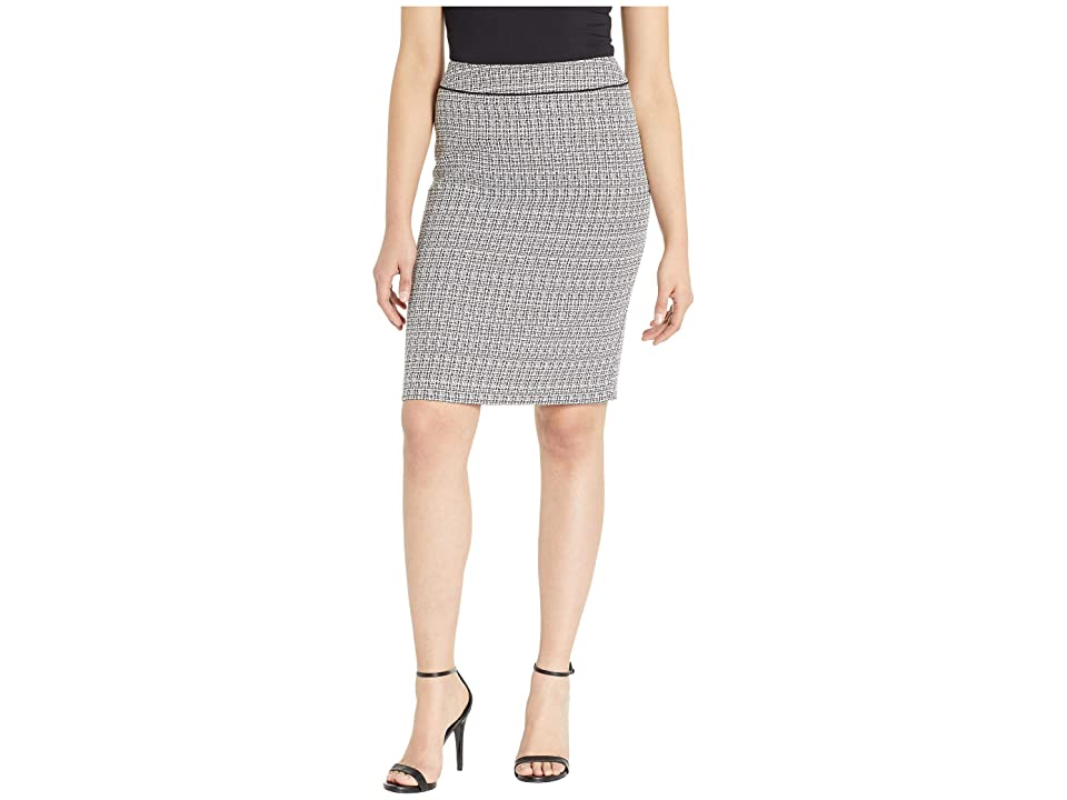 Tahari by ASL Tweed Skirt with Waistband Detail (Black/White) Women
