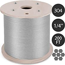 Mophorn 304 Stainless Steel Cable 1/4 Inch 7 X 19 Steel Wire Rope 200Feet Steel Cable for Railing Decking DIY Balustrade(1/4 Inch-200Feet)