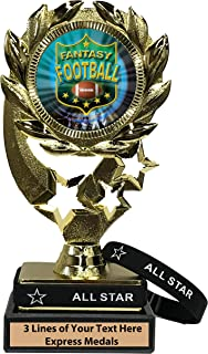 Express Medals Fantasy Football Trophy with Removable Wearable All Star Wrist Band Marble Base and Personalized Engraved Plate