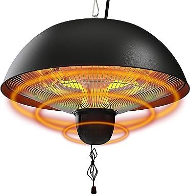 Hanging Patio Heater, 1500W Outdoor/Indoor Electric Patio Heater, Infrared Patio Heater, Ceiling Electric Heater with 3 Adjus