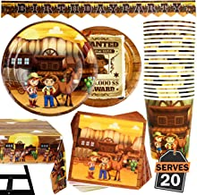 82 Piece Cowboy Wild West Party Supplies Set Including Banner, Plates, Cups, Napkins, and Tablecloth, Serves 20
