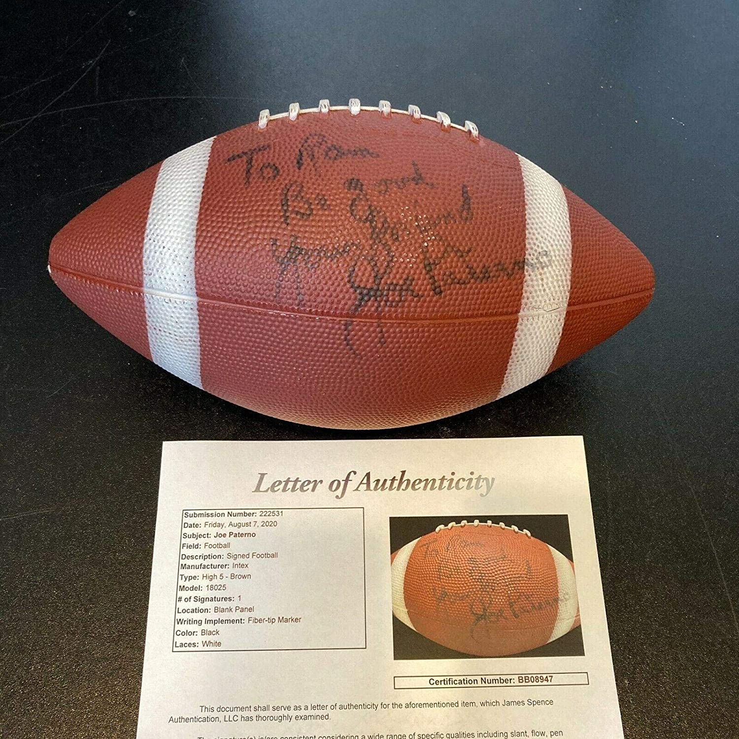Joe Paterno Signed Autographed Fort Worth Mall Football JSA Popular State NCAA Penn With