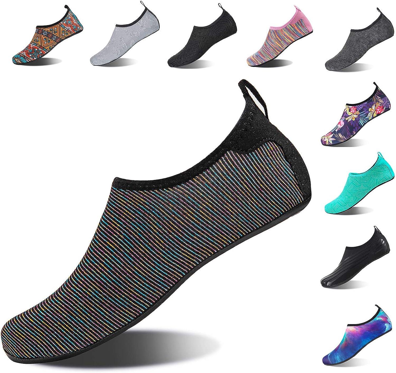 HMIYA Aqua Socks Beach Water shoes Barefoot Yoga Socks Quick-Dry Surf Swim shoes for Women Men (color Black, 34 35EU)