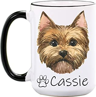 Yorkie Mug - Personalized Large 15 oz or 11 oz Ceramic Mugs - Yorkshire Terrier Coffee Cup for Women - Dog Mom Gifts for Women, Her - Pet Owner Gifts for Birthday - Dishwasher & Microwave Safe