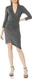 فستان نيكول ميلر النسائي الفضي بياقة على شكل V Asymm