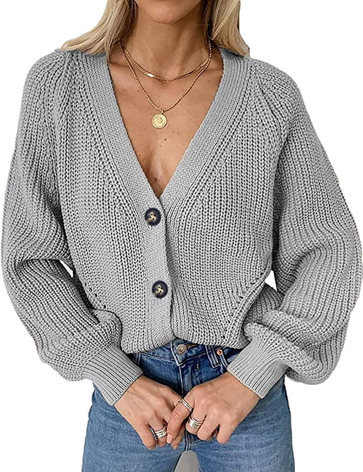 Chigant Women's Long Sleeve Cable Knit Sweater Open Front Cardigan Button Loose Outerwear