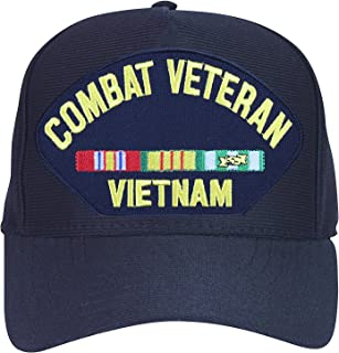 Armed Forces Depot Combat Veteran Vietnam with Ribbons Baseball Cap. Navy Blue. Made in USA