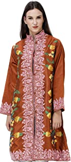 Exotic India Sierra-Brown Long Kashmiri Jacket with Embroidered Multicolor Flowers