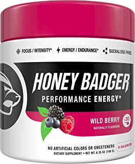 Honey Badger Vegan Keto Pre Workout | Wild Berry | Natural Paleo Sugar Free Pump Energy Supplement Nootropics Amino Acids ...