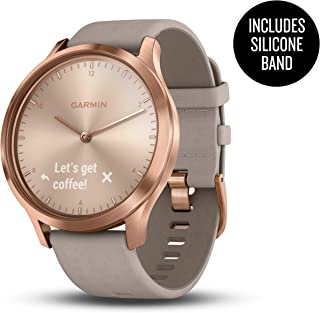 Garmin 010-01850-19 vívomove HR, Premium, Rose Gold Case with Gray Suede Band, (One Size Fits Most)