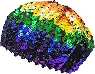 RPI Colorful Sequin Rainbow Beret Hat, Costume Sparkly Slouchy Beanie Cap