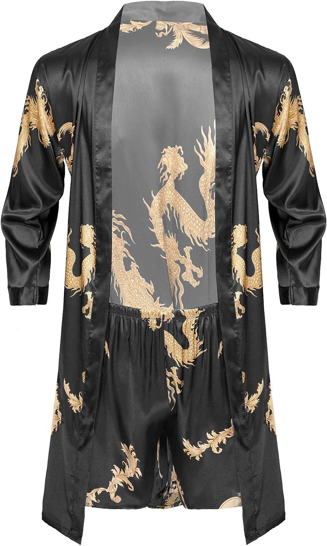 OFFicial Aislor National uniform free shipping Men's Satin Nightgown 2 Li Dragon Nightwear Piece Printed