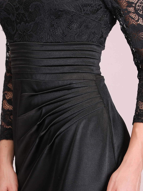 Ever-Pretty Vestito da Cerimonia Donna Pizzo Girocollo Manica Lunga Sirena Stile Impero 07584