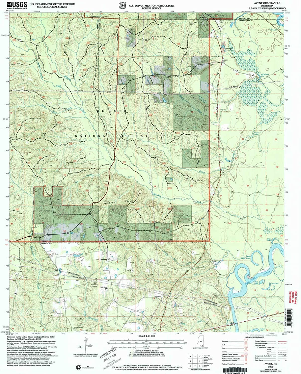Avent MS topo map, 1 24000 Scale, 7.5 X 7.5 Minute, Historical, 2000, Updated 2003, 26.9 x 22 in