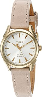 Timex Women's Chesapeake Quartz Brass and Leather Dress Watch, Color:Brown (Model: TW2P820009J)
