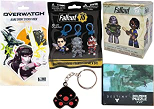 Gamer Figure Loot Stuff Fallout Mystery Minis Action Vinyl Blind Box Bundled with Destiny Puzzle / Backpack Hanger / Overwatch Sticker & Keychain 5-Pack