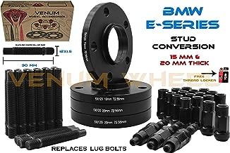 (2) 15mm + (2) 20mm Black Staggered Wheel Spacers + 12x1.5 Black Racing Stud Conversion Kit Compatible With E36 E46 E90 E92 E64 E23 E32 E38 E31 FREE Thread Locker included fits Aftermarket & OEM | Wor