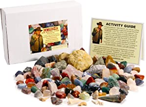 Best Rock Collection - Includes Meteorite Fragment, Megalodon Shark Tooth, ID Chart. Has 3 LBS. of Gems, Minerals and Fossils.