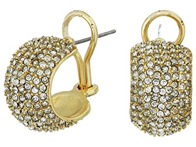 Vince Camuto Pave Domed Huggies Earrings (Gold/Crystal) Earring
