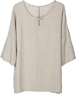 Women's Elbow Sleeve Linen Tunic Tops Solid Color Retro Blouse