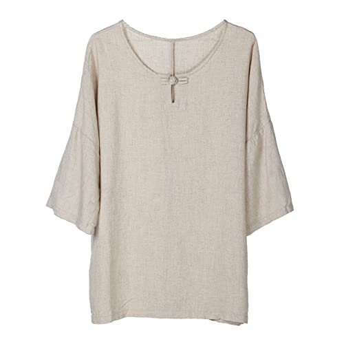 M Made in Italy Womens Plus Size Linen Short Sleeve Top