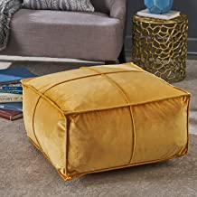 "Inkcraft Home Cytheria Honey Velvet Square Bean Bag Ottoman (24""*24""*12"", tan)"