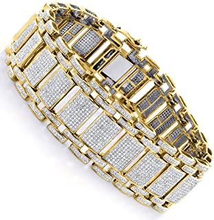 Unique 10K or 14K Gold Mens Iced Out Pave Cut Natural 8 Ctw Diamond Bubble Bracelet