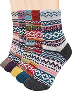 5 Pairs Warm Wool Socks for Women Soft Winter Casual Socks Thick Knit Crew Socks Novelty Socks Gifts